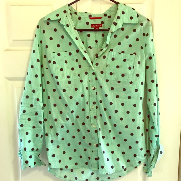 Merona Tops - Mint polka dot blouse